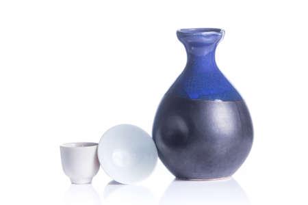 japanese sake: Conjunto aislado de consumición del motivo japonés