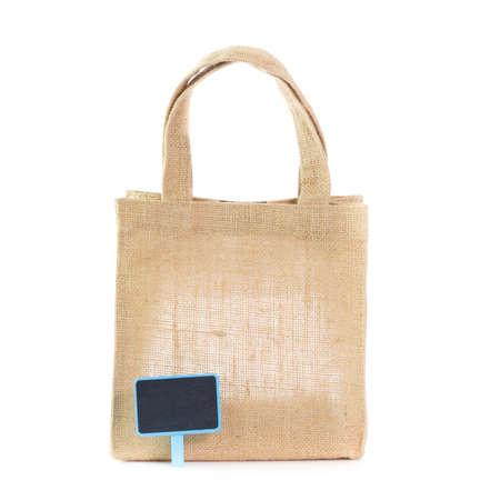 gunny bag: natural gunny bag with label Stock Photo