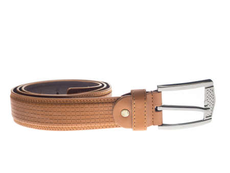 chrome man: Leather belts isolated on white background