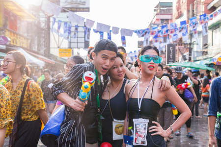 14 15 years: Bangkok, Thailand - April 14, 2016: Bangkok Songkran Festival Khaosan Road 2016, The Songkran festival is celebrated in Thailand as the traditional New Years Day from 13 to 15 April. Editorial
