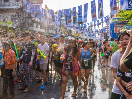 13 14 years: Bangkok, Thailand - April 14, 2016: Bangkok Songkran Festival Khaosan Road 2016, The Songkran festival is celebrated in Thailand as the traditional New Years Day from 13 to 15 April. Editorial