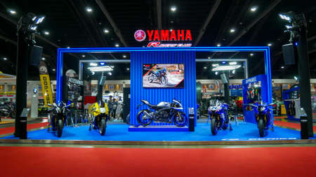 BANGKOK - JULY 5 : Yamaha Modified motorcycle show at Bangkok International Auto Salon 2018, the largest and most magnificent Modified Car and automobile accessories show in Bangkok, Thailand.