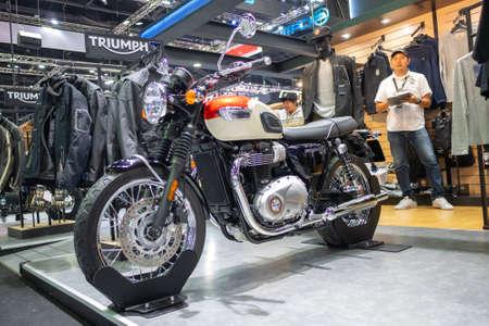 Bangkok, Thailand - November 30, 2018 :  TRIUMPH Motocycle and TRIUMPH Shop at Thailand International Motor Expo 2018 on Nov 30,2018 in Bangkok, Thailand. Sajtókép