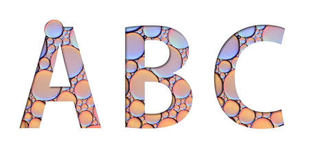 alphabet letters from oil bubbles on white background ( A B C ) 스톡 콘텐츠