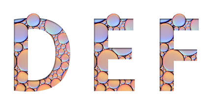 alphabet letters from oil bubbles on white background ( D E F )