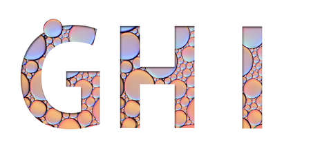 alphabet letters from oil bubbles on white background ( G H I ) 스톡 콘텐츠