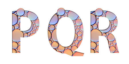 alphabet letters from oil bubbles on white background ( P Q R )