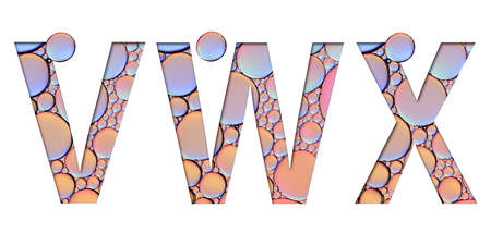 alphabet letters from oil bubbles on white background ( V W X )