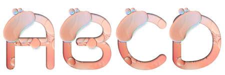 alphabet letters from oil bubbles on white background ( A B C D ), Pastel Bubbles Letter. Oil drop bubbles.