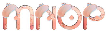 alphabet letters from oil bubbles on white background ( M N O P ), Pastel Bubbles Letter. Oil drop bubbles. 스톡 콘텐츠