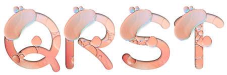 alphabet letters from oil bubbles on white background ( Q R S T ), Pastel Bubbles Letter. Oil drop bubbles. 版權商用圖片