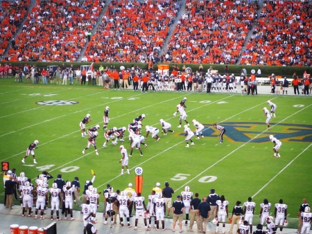 A football match at Jordan Hare stadium, Auburn University, AL, USA
