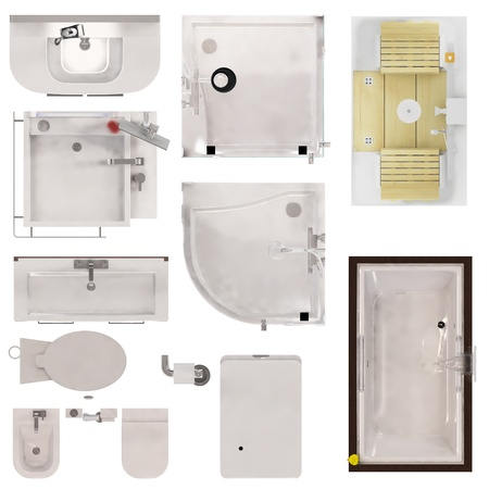 Set of Restroom Fixtures Top View Isolated on White Background
