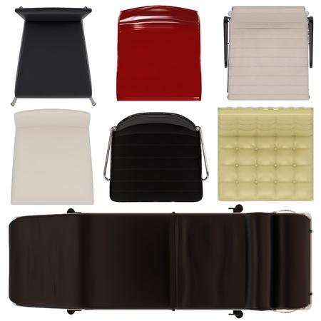 vis�o: Conjunto de cadeiras Top View isoladas no fundo branco Banco de Imagens