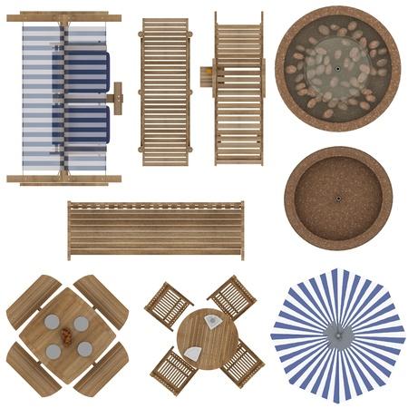 Set van Outdoor Furniture Top View Geà ¯ soleerd op witte achtergrond