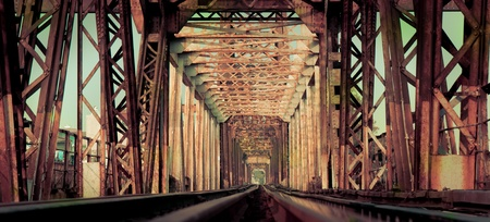 Long Bien Bridge, a historical landmark of Hanoi, Vietnam