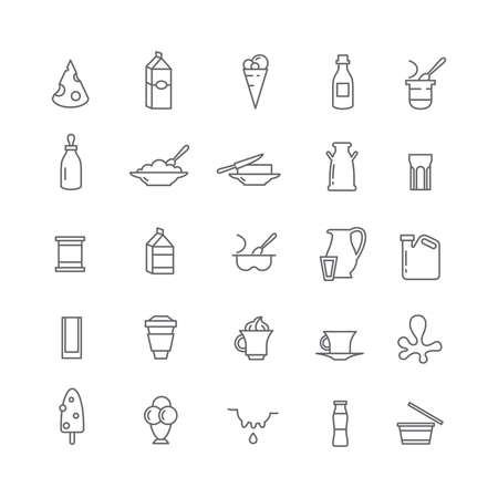 dairy products: Icons with dairy products Illustration