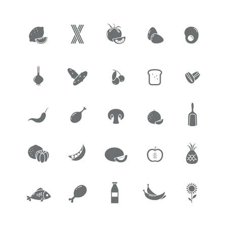 useful: Set of black icons with different useful products (Vegetables, seafood, fruits).
