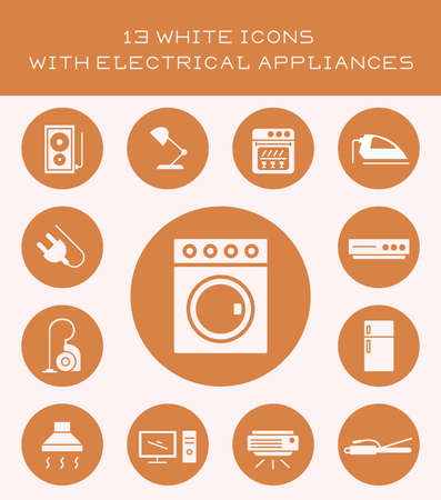 fridge lamp: Icons of different home appliances for cleaning and cooking.