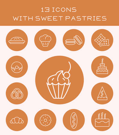 gateau: Set of icons with different sweet flour products. Illustration