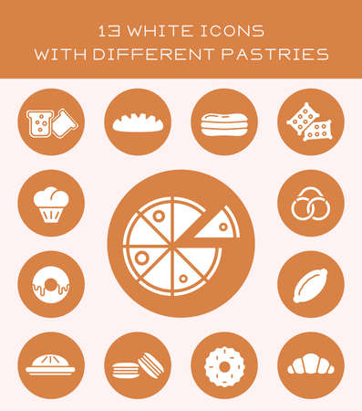 gateau: 13 white icons with different pastries.