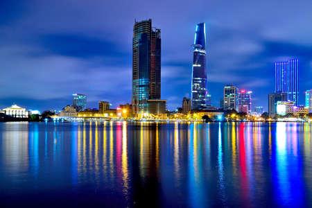 vietnam: Saigon city at night