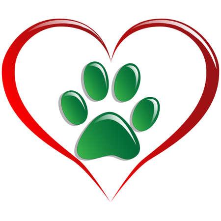 paw prints: Love animals Illustration