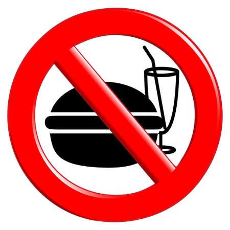 eating fast food: No comer y beber signo Vectores