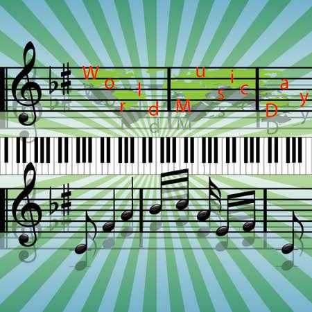 musical score: World Music Day Illustration