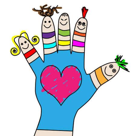 black hair blue eyes: Children hand