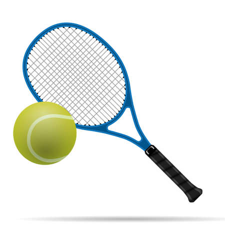 tennis racket: Racket and tennis ball Illustration