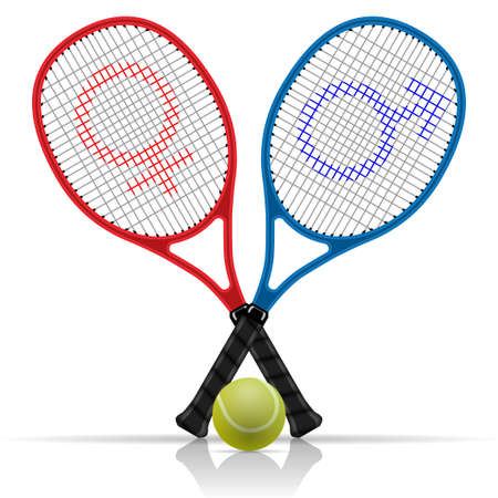 rackets: Rackets with tennis ball Illustration