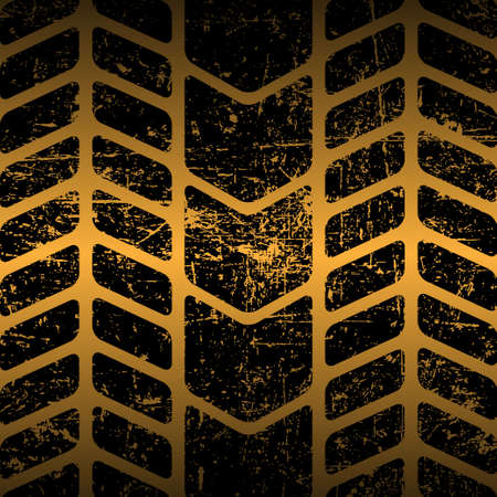 car tire: Dirty tire track Illustration