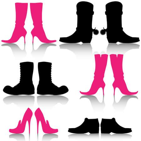 tacones negros: Calzado Vectores