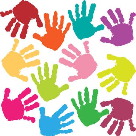 Empreintes de mains de l'enfant