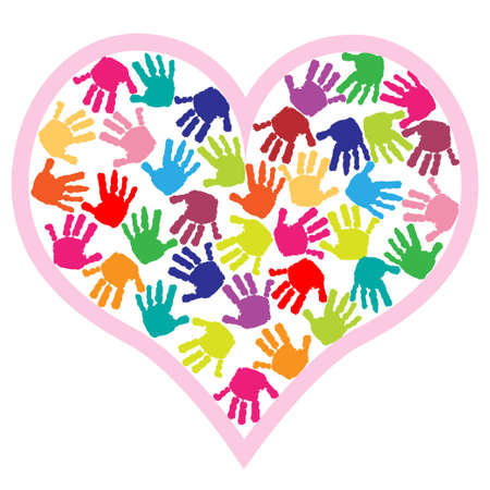 Children hand prints in the heart Vector