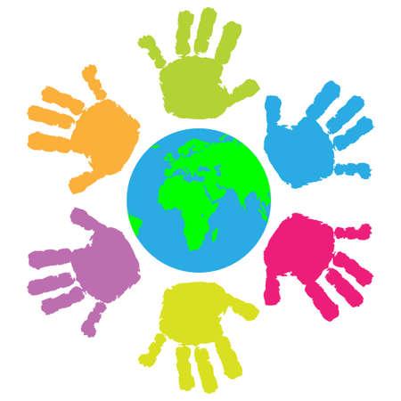earth in hand: Los ni�os de impresi�n a mano alrededor de la Tierra Vectores