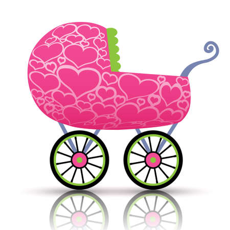 Stroller of hearts for baby Vector