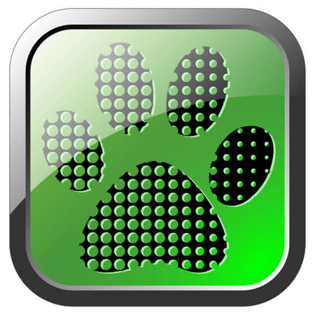 Animal footprint icon on green button photo