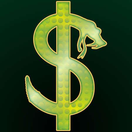 serpiente de cascabel: El dinero en dólares Foto de archivo