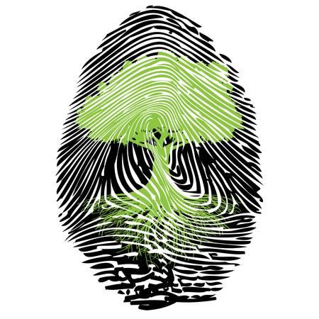 odcisk kciuka: Ekologiczny podpis Ilustracja
