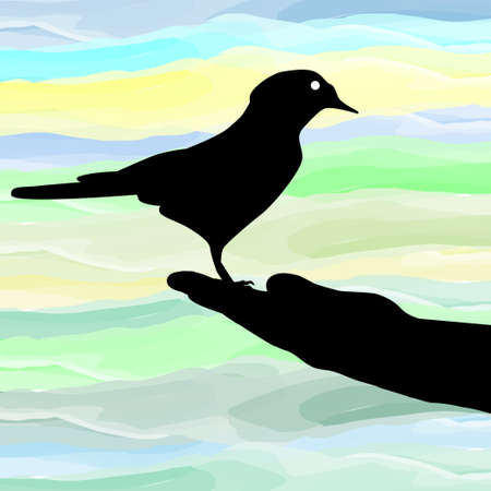free clip art: A bird in the hand