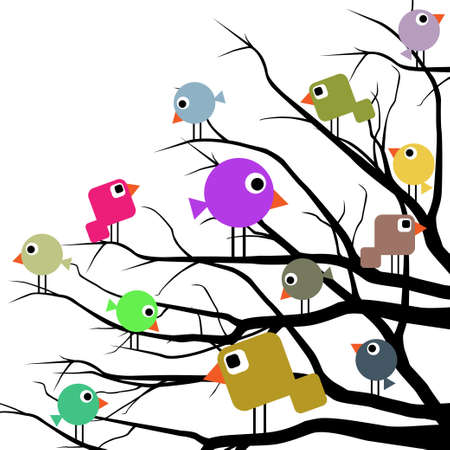Cheerful birds Vector