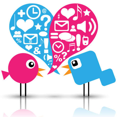 tweet icon: Las aves con iconos de redes sociales