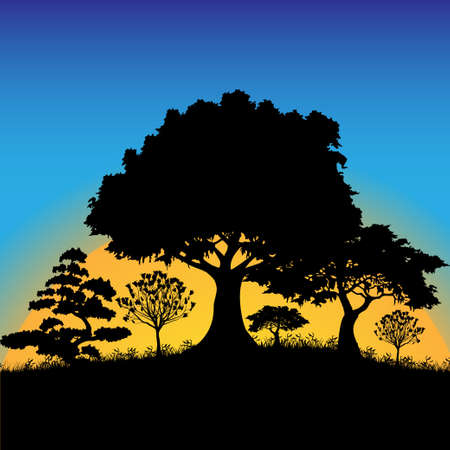 yellow landscape: Forest silhouette Illustration