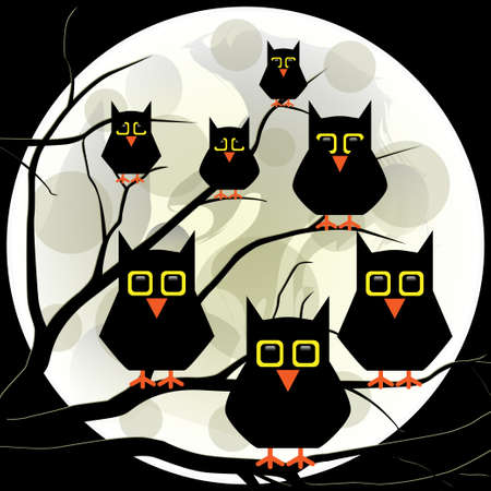 moon  owl  silhouette: Owls on a branch