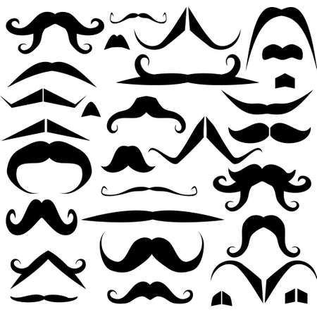 black head and moustache: Set of mustaches for fun