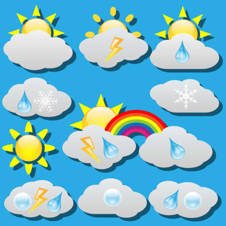 clouded sky: Weather icons Illustration