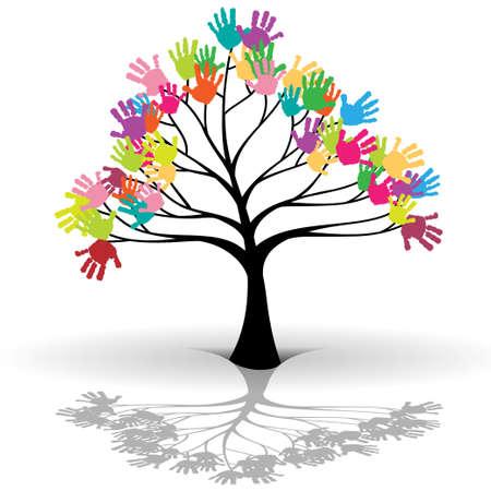Niños árbol Ilustración de vector