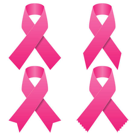 Set of pink breast cancer ribbons Illustration
